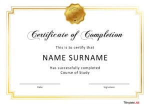 40 Fantastic Certificate Of Completion Templates [Word within Graduation Certificate Template Word