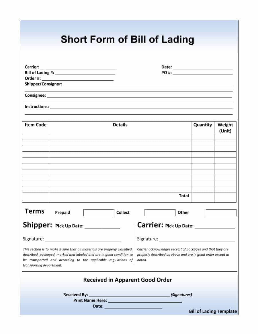 40 Free Bill Of Lading Forms & Templates ᐅ Template Lab With Blank Bol Template