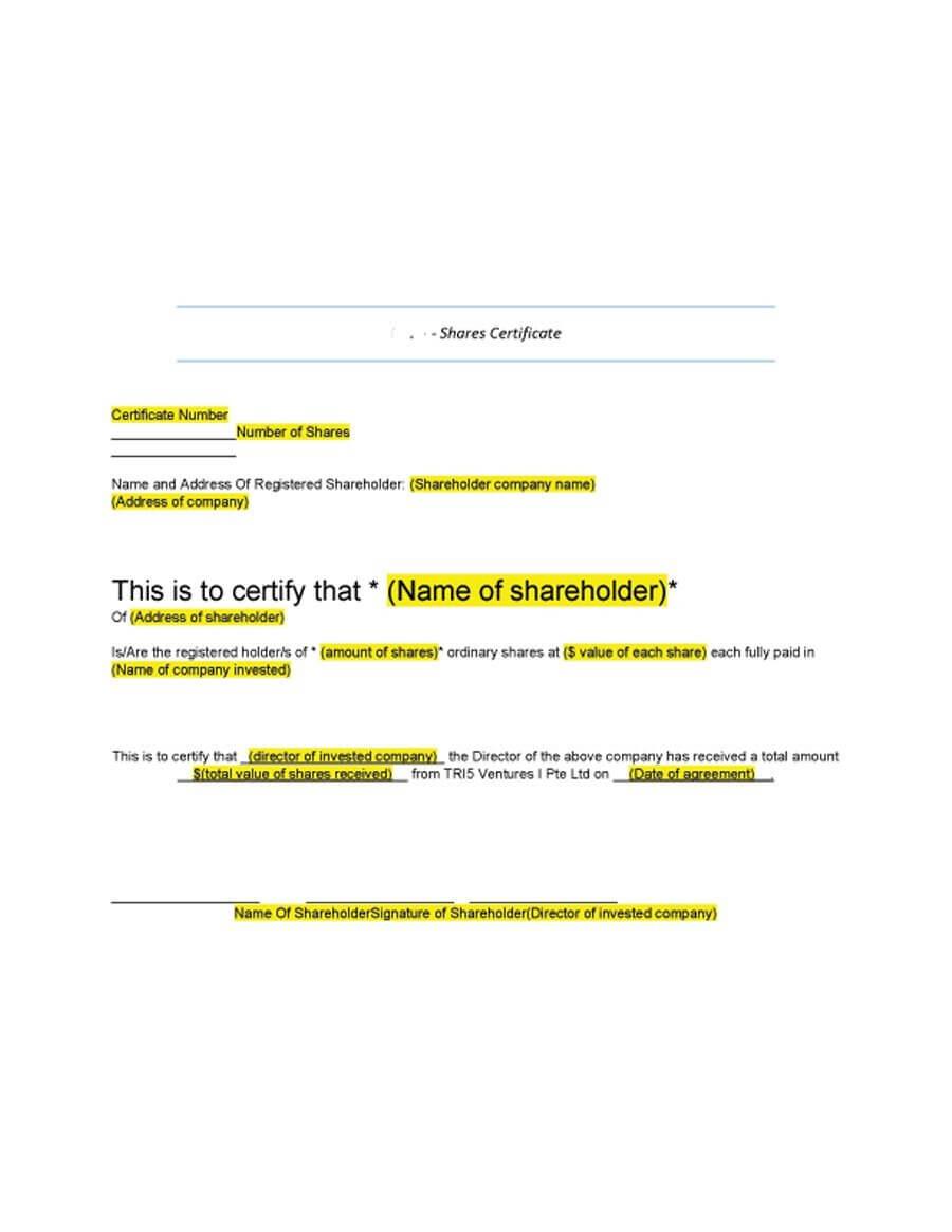 40+ Free Stock Certificate Templates (Word, Pdf) ᐅ Template Lab For Template Of Share Certificate