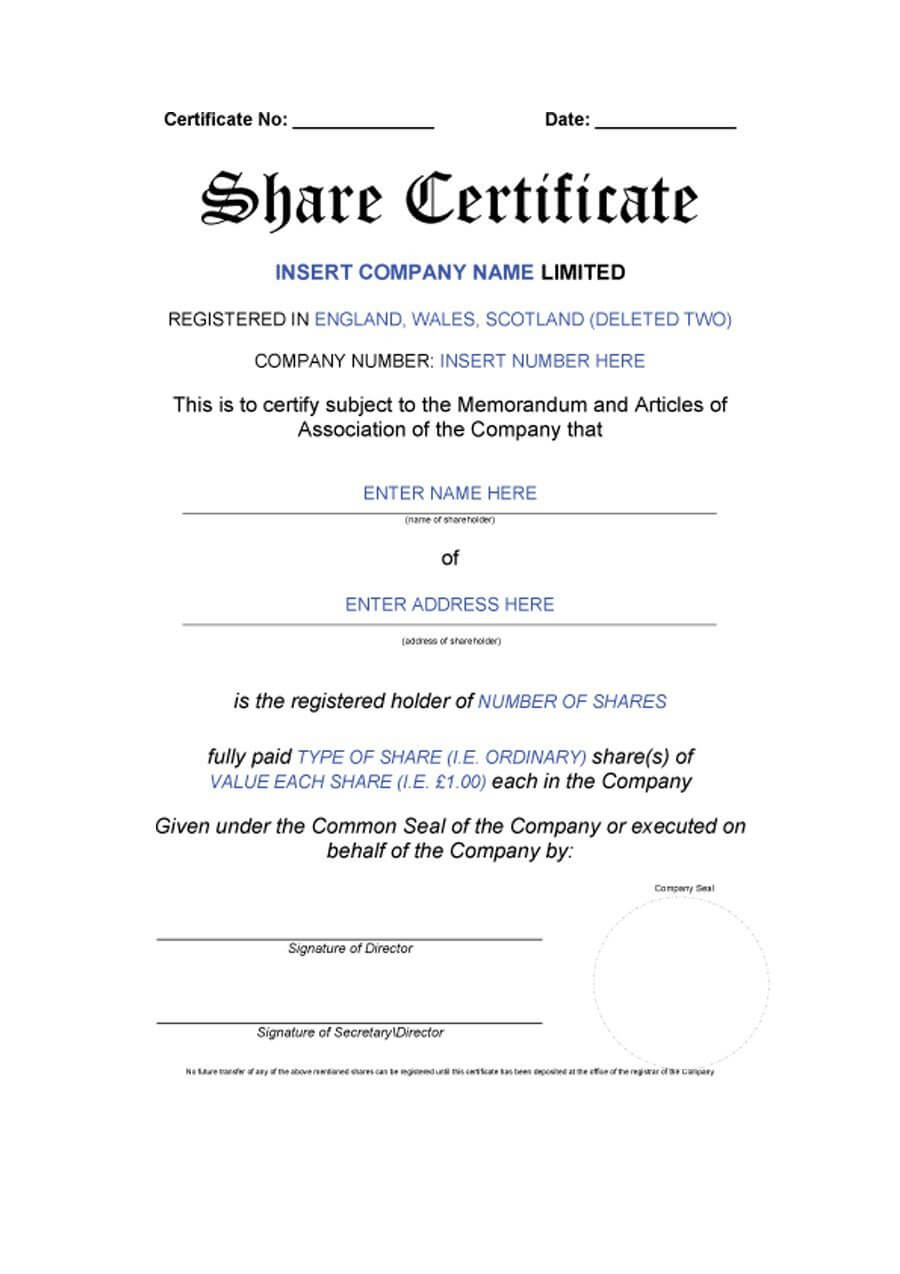 40+ Free Stock Certificate Templates (Word, Pdf) ᐅ Template Lab For Template Of Share Certificate