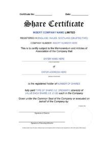40+ Free Stock Certificate Templates (Word, Pdf) ᐅ Template Lab inside Template For Share Certificate
