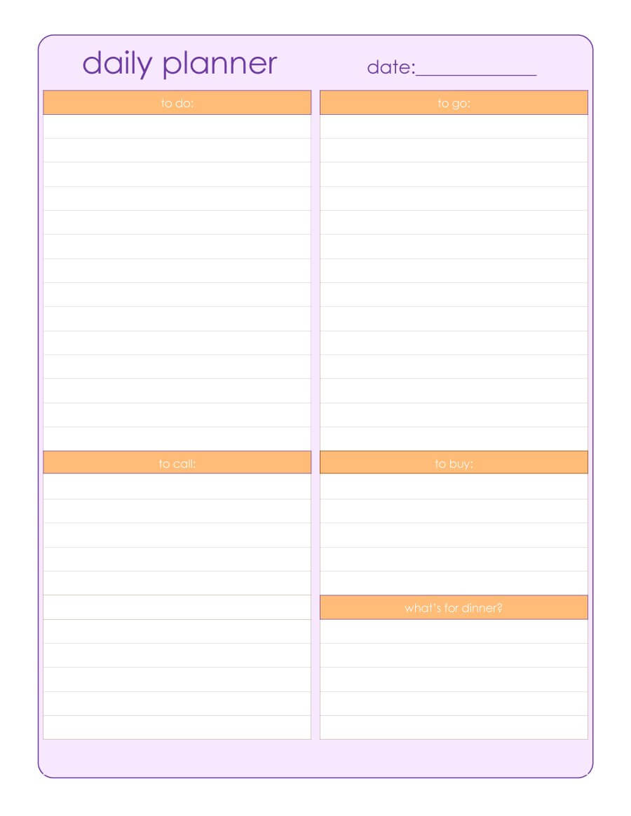 40+ Printable Daily Planner Templates (Free) ᐅ Template Lab With Regard To Printable Blank Daily Schedule Template