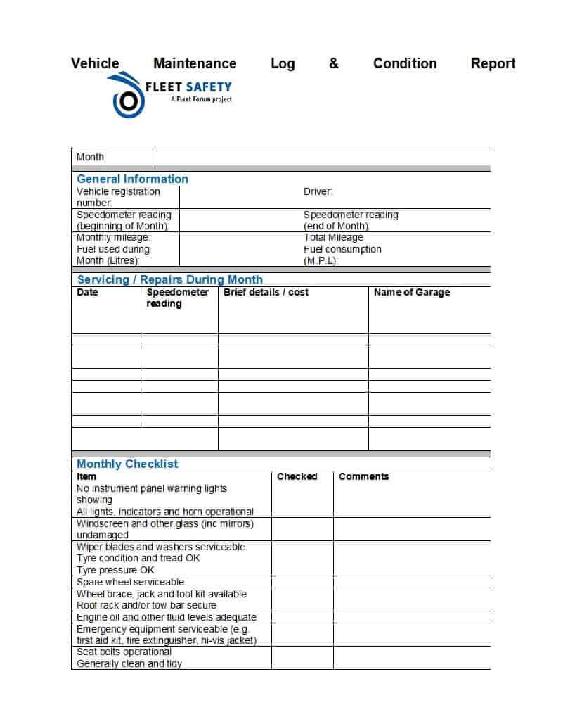 40 Printable Vehicle Maintenance Log Templates ᐅ Template Lab Regarding Fleet Report Template
