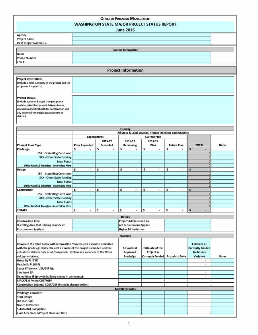 40+ Project Status Report Templates [Word, Excel, Ppt] ᐅ in Job Progress Report Template