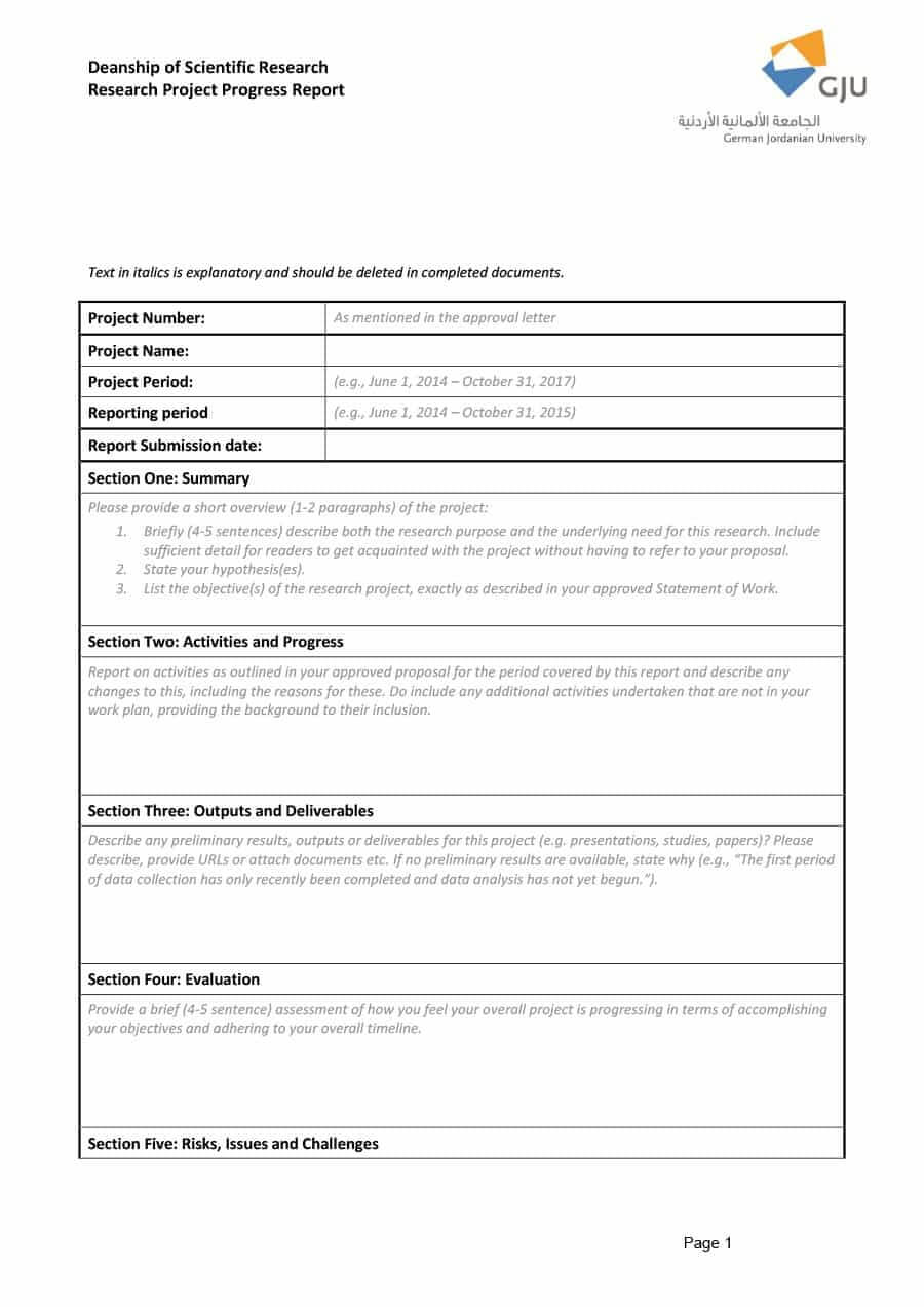 40+ Project Status Report Templates [Word, Excel, Ppt] ᐅ Pertaining To Research Project Progress Report Template