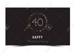 40 Years Happy Anniversary Card Template With Gold Stars. with regard to Template For Anniversary Card