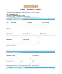 41 Credit Card Authorization Forms Templates {Ready-To-Use} pertaining to Credit Card Payment Slip Template