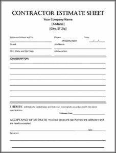 44 Free Estimate Template Forms [Construction, Repair with regard to Blank Estimate Form Template