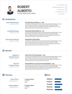 45 Free Modern Resume / Cv Templates – Minimalist, Simple for How To Make A Cv Template On Microsoft Word