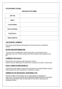 47 Job Description Templates & Examples ᐅ Template Lab with Job Descriptions Template Word