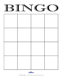 4X4 Blank Bingo Card Template | Elementary Music | Blank within Bingo Card Template Word