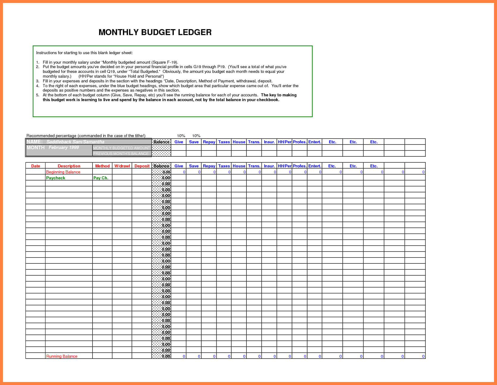5+ Free Bookkeeping Ledger Template | Andrew Gunsberg Inside Blank Ledger Template