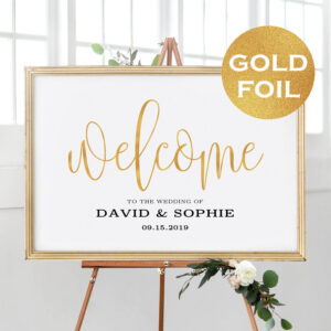5 Sizes Gold Foil Wedding Welcome Sign Template Printable | Etsy with regard to Staples Banner Template
