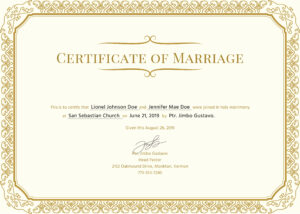 50 Marriage Certificate Template Microsoft Word | Culturatti throughout Certificate Of Marriage Template