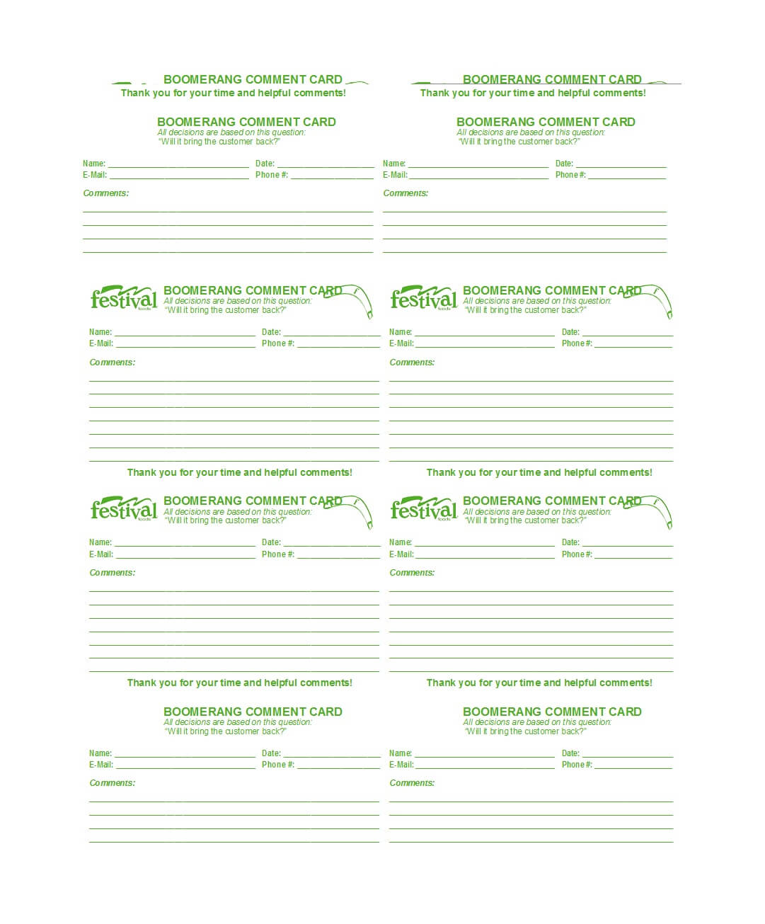 50 Printable Comment Card & Feedback Form Templates ᐅ Inside Comment Cards Template
