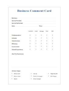 50 Printable Comment Card & Feedback Form Templates ᐅ throughout Soccer Report Card Template