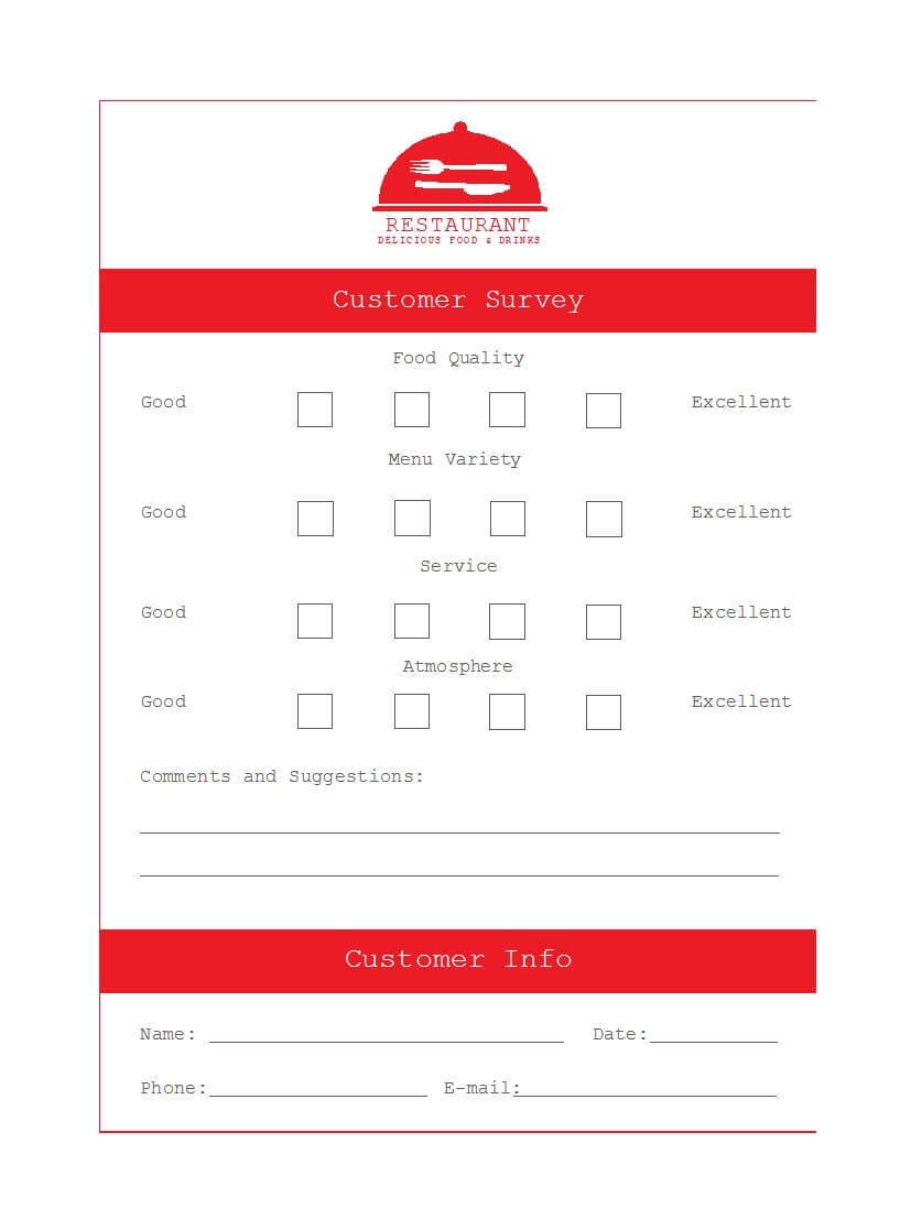 50 Printable Comment Card & Feedback Form Templates ᐅ Throughout Survey Card Template