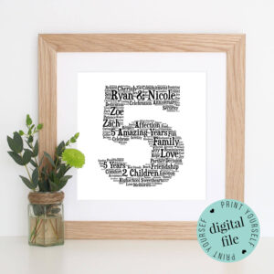 5Th Anniversary Gift – Word Art – Printable Gift – 5 Year intended for Anniversary Card Template Word