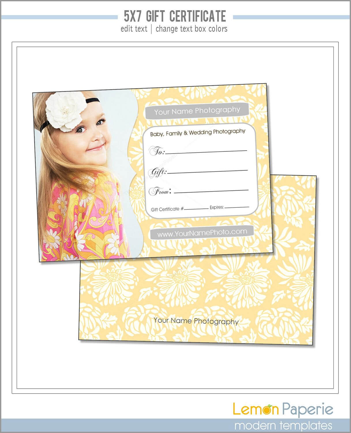 5X7 And 4X6 Gift Certificate Template, Fresh Blossoms, Psd Regarding Gift Certificate Template Photoshop