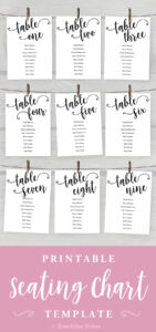 5X7 Wedding Seating Chart Cards Printable, Tables 1-20 with regard to Reserved Cards For Tables Templates