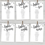 5X7 Wedding Seating Chart Cards Printable, Tables 1 20 With Regard To Reserved Cards For Tables Templates