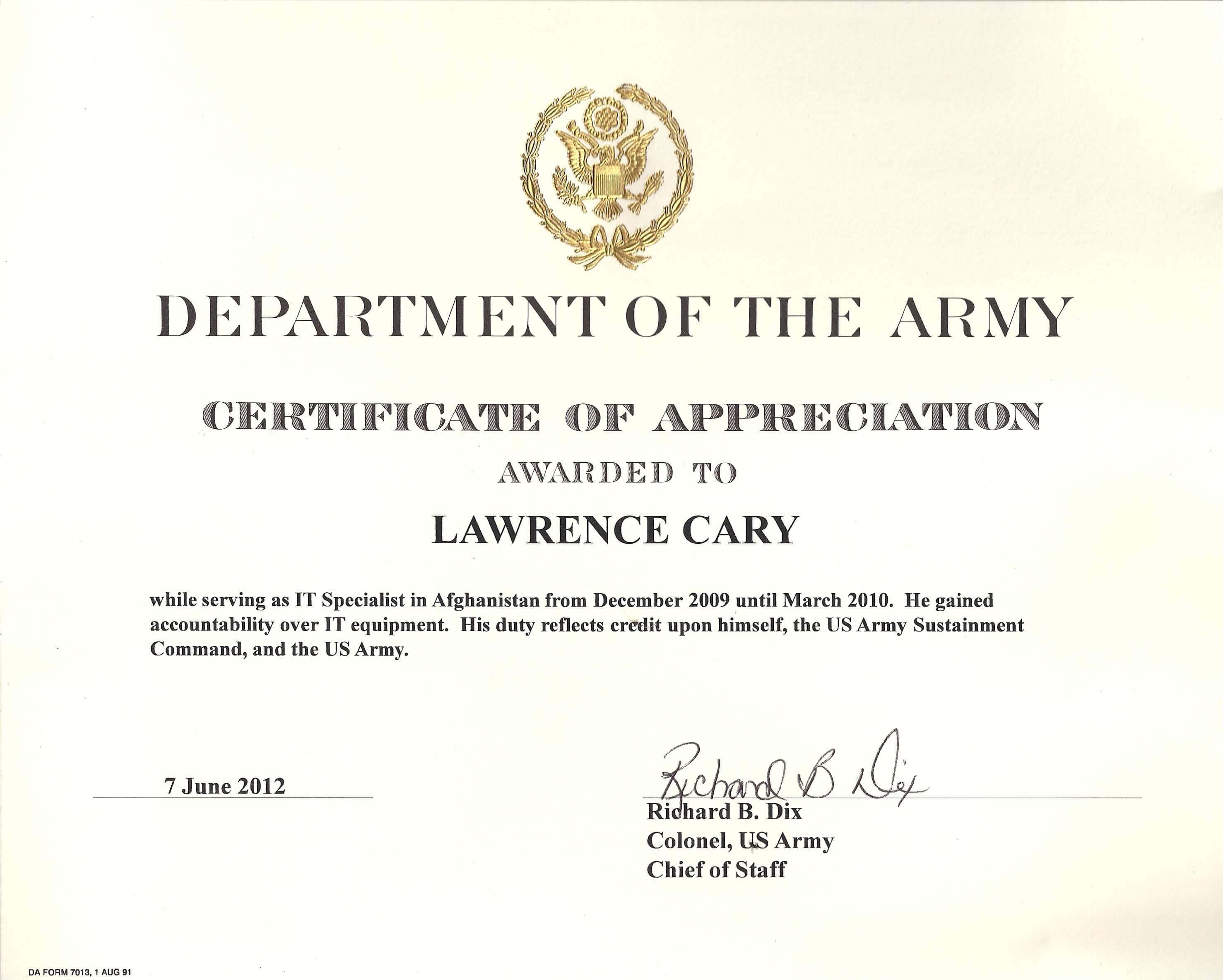 6+ Army Appreciation Certificate Templates – Pdf, Docx In Officer Promotion Certificate Template