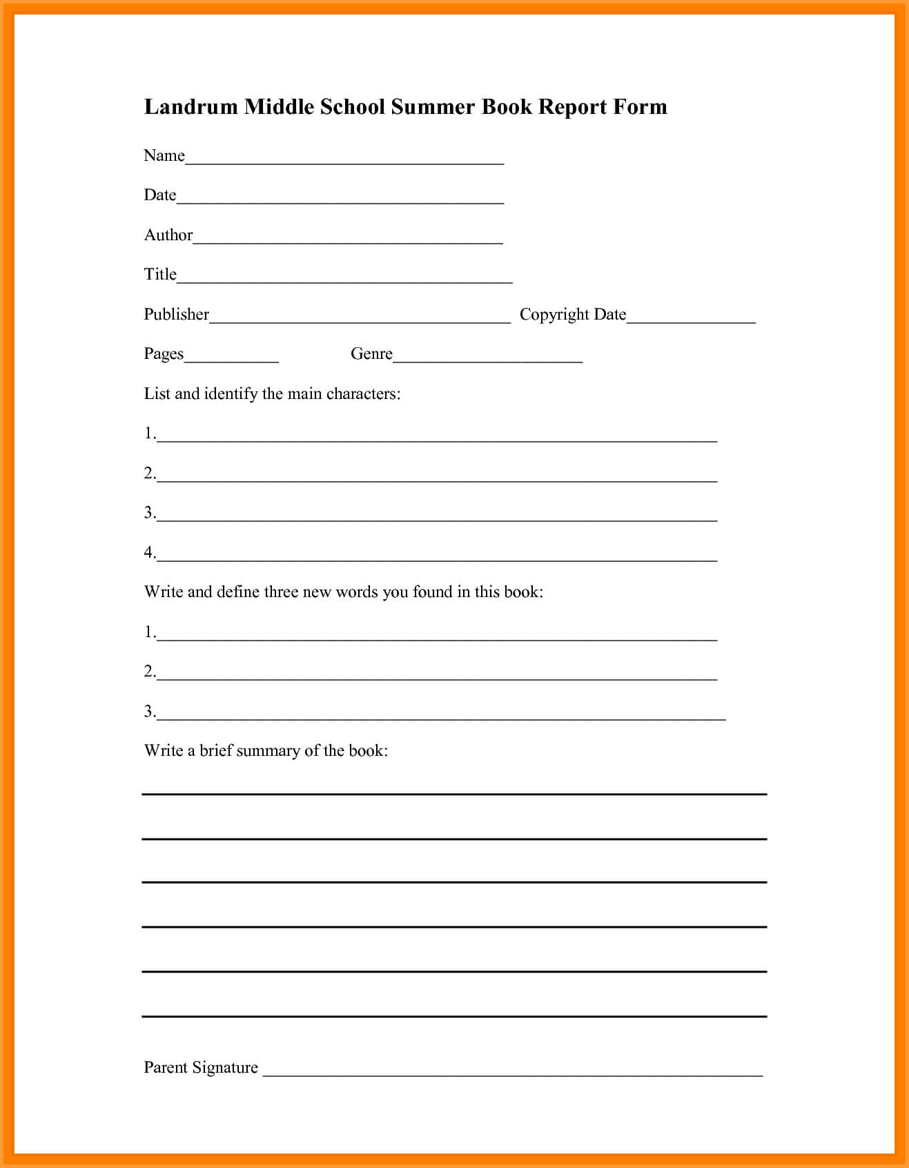 6+ Book Report Template Middle School | Types Of Letter With Regard To Middle School Book Report Template