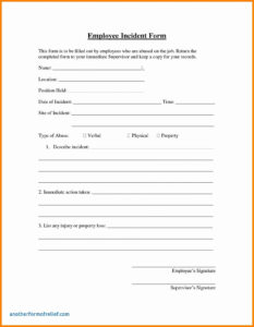 6+ Employee Incident Report Sample | This Is Charlietrotter Inside Employee Incident Report Templates