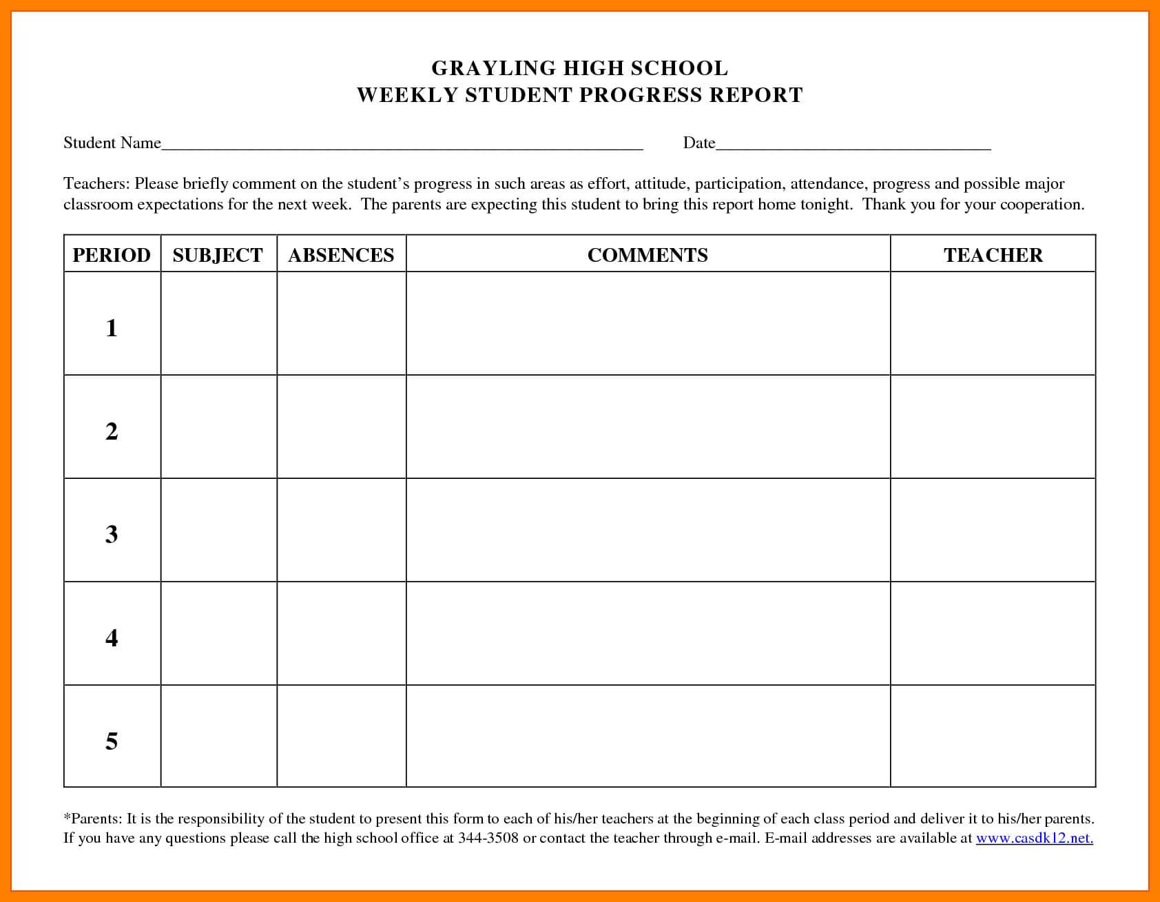 6+ Student Progress Report Templates | Phoenix Officeaz Inside High School Progress Report Template