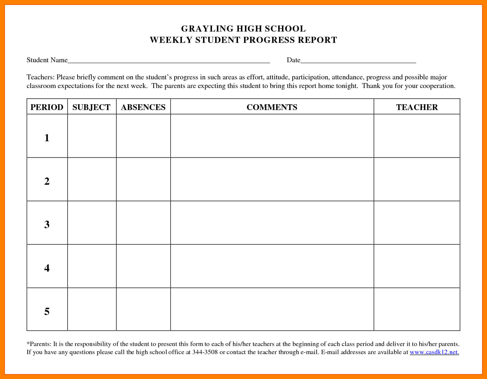 6+ Student Progress Report Templates | Phoenix Officeaz With Regard To Student Progress Report Template