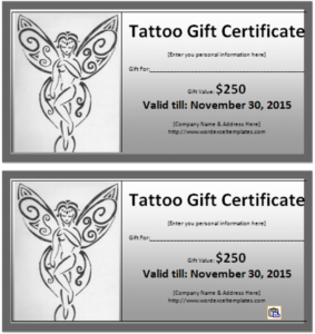 6 Tattoo Gift Certificate Templates Free Sample With with Tattoo Gift Certificate Template