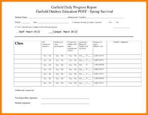 7+ Daily Progress Report Template For Students | Lobo intended for Student Progress Report Template