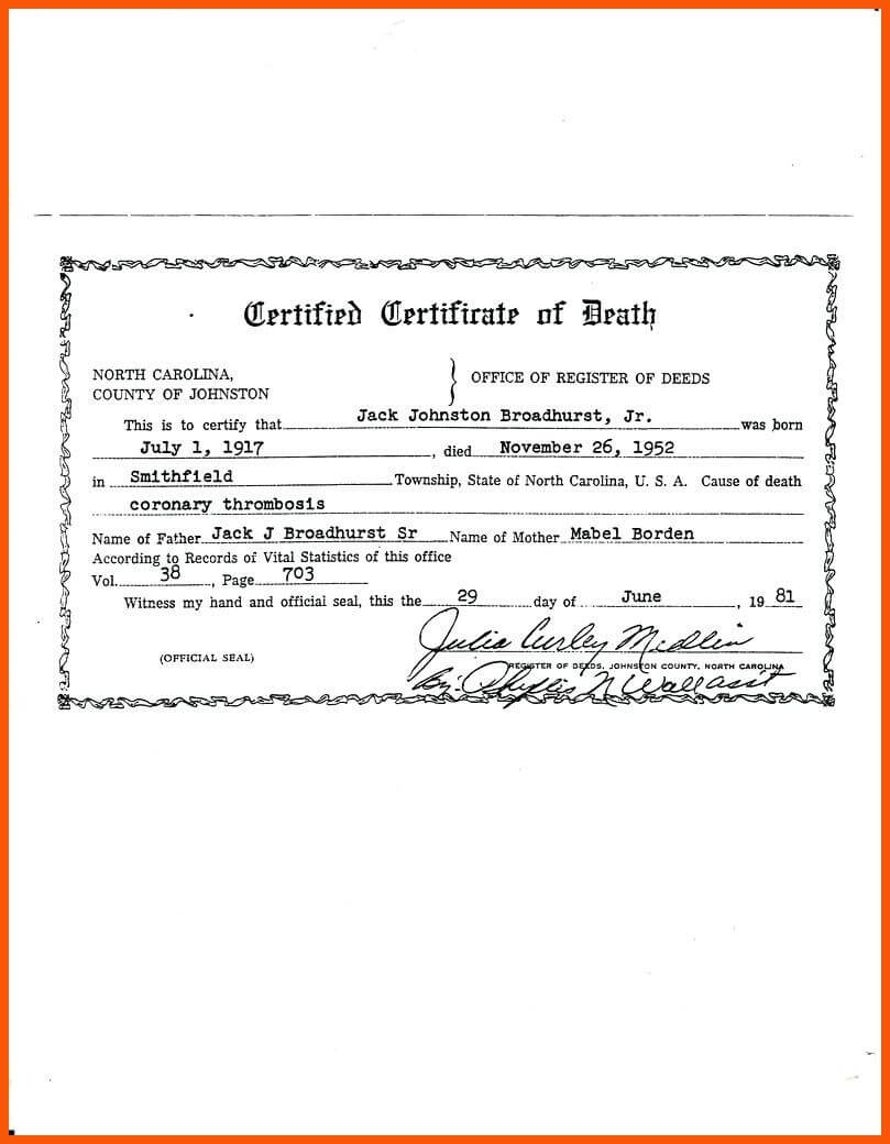 7+ Death Certificate Template | Iwsp5 Intended For Baby Death Certificate Template