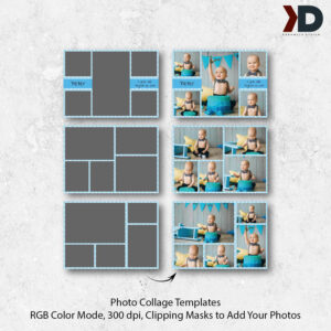 7X5 Photo Collage Card Templates, First Birthday, Birthday Collages, Cake  Smash, Digital Collage Board, Photo Template, Photography Template within Birthday Card Collage Template