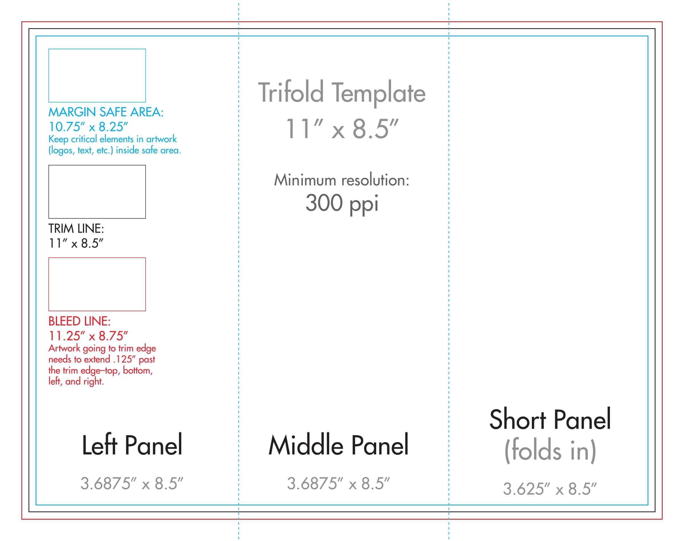 """8.5"""" X 11"""" Tri Fold Brochure Template – U.s. Press For Double Sided Tri Fold Brochure Template"""