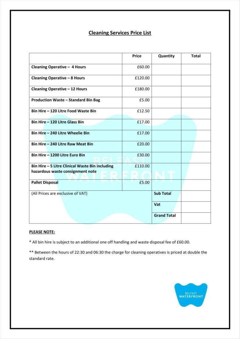 8+ Cleaning Price List Templates – Free Word, Pdf, Excel In Cleaning Report Template