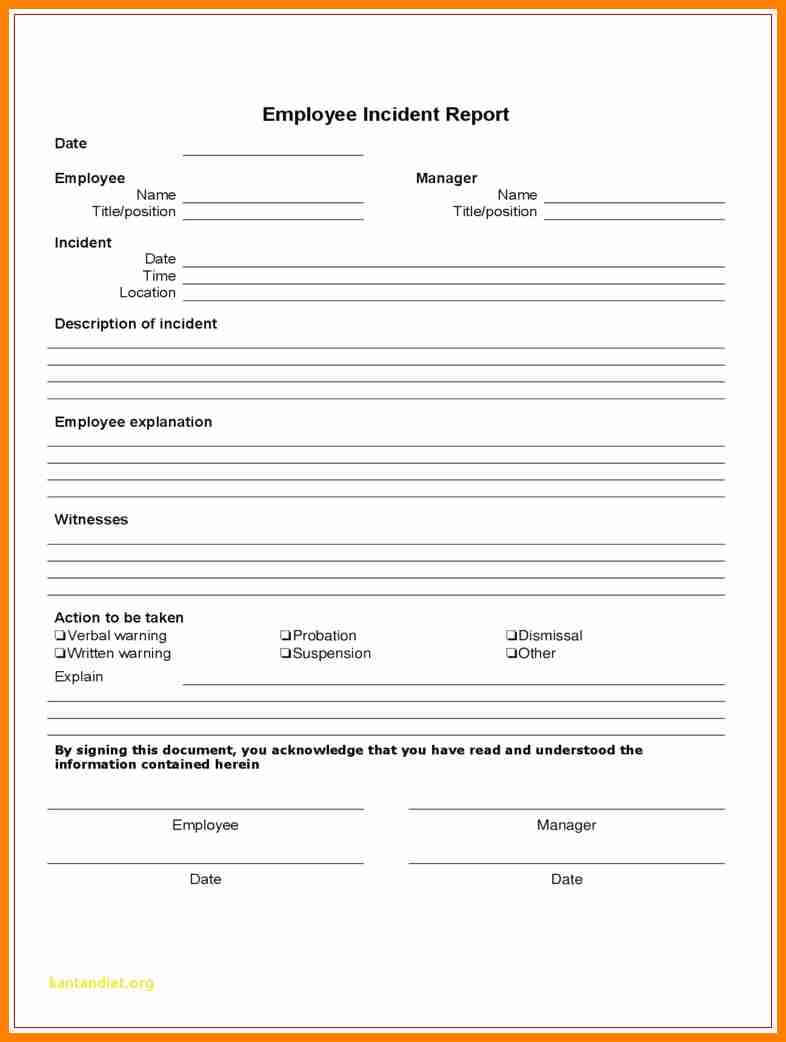8+ Employee Incident Report Form | This Is Charlietrotter Regarding Employee Incident Report Templates