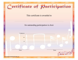 8+ Free Choir Certificate Of Participation Templates – Pdf For Certificate Of Participation Template Pdf