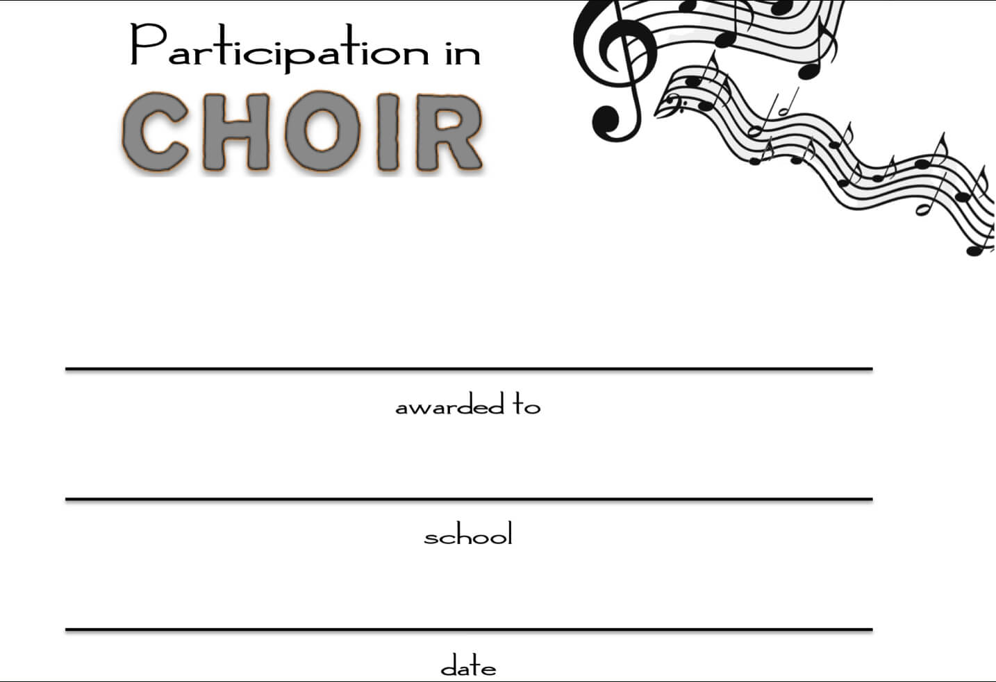 8+ Free Choir Certificate Of Participation Templates - Pdf Pertaining To Choir Certificate Template