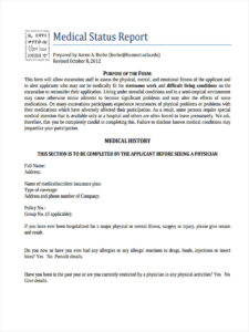 8 Medical Report Form Samples – Free Sample, Example Format with regard to Medical Legal Report Template