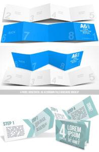 8 Page Horizontal A6 Accordion Fold Brochure Mockup within 4 Panel Brochure Template