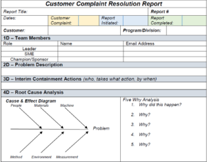 8D Customer Complaint Resolution Report for 8D Report Template