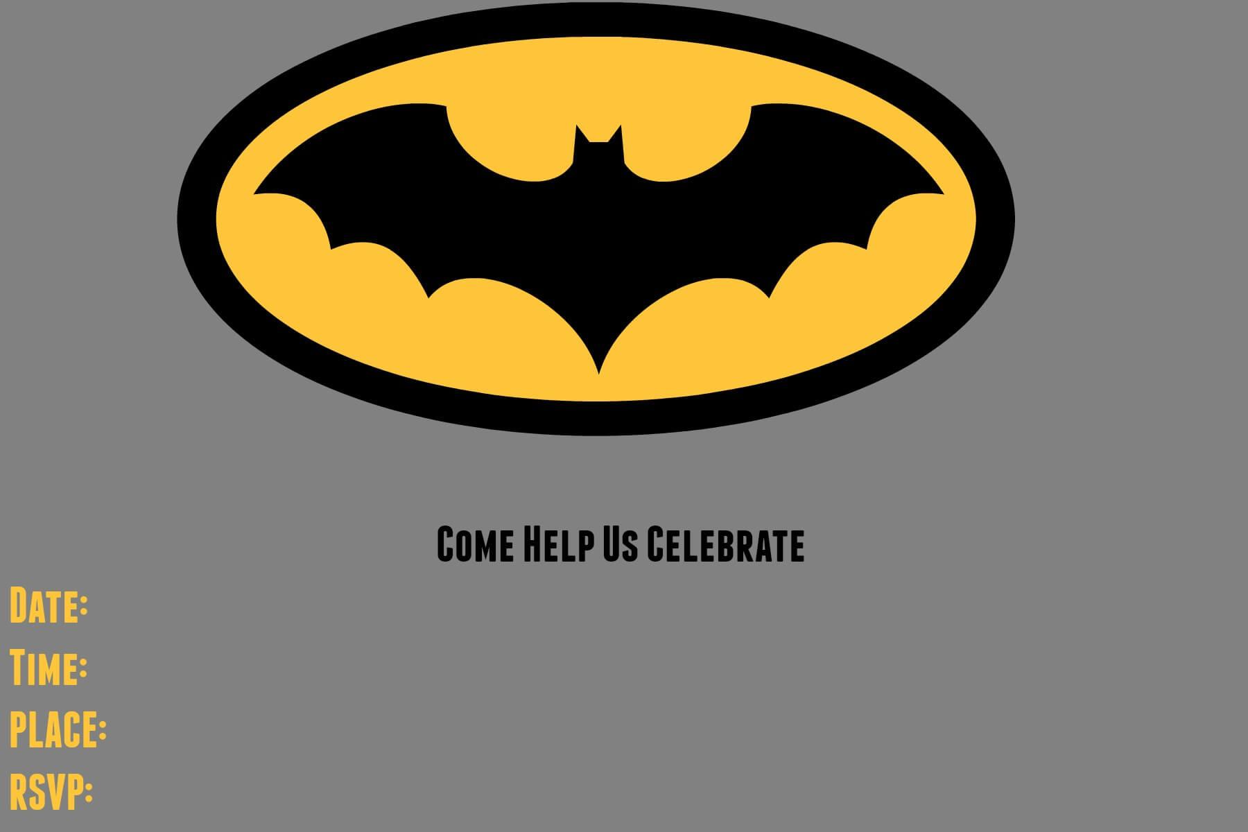 9 Awesome Batman Birthday Invitations   Kittybabylove Throughout Batman Birthday Card Template