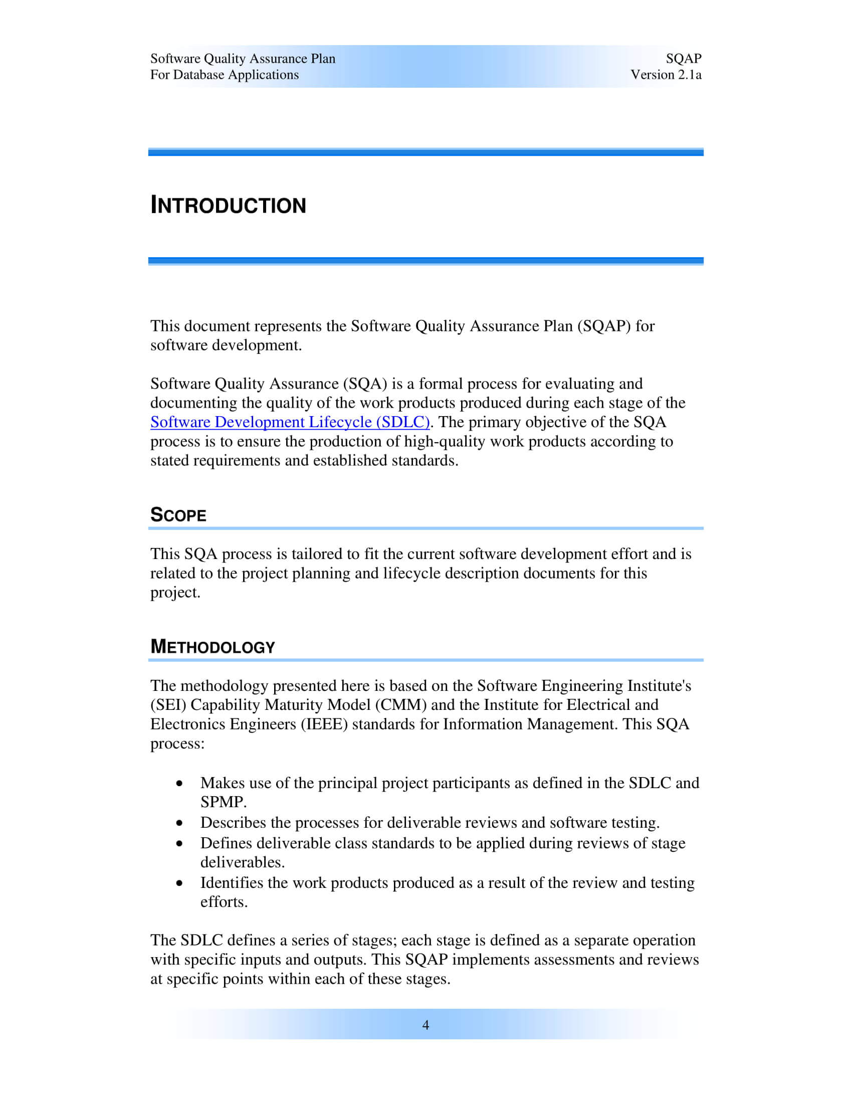 9+ Software Quality Assurance Plan Examples - Pdf | Examples In Software Quality Assurance Report Template