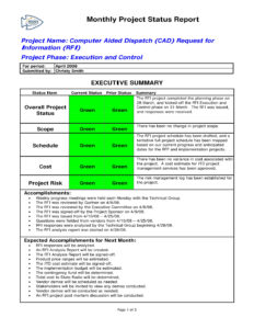 9+ Status Report Examples – Doc, Pdf | Examples Pertaining To Monthly Status Report Template