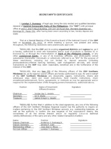 91 How To Write Notarized Board Resolution Sample Pertaining To Corporate Secretary Certificate Template