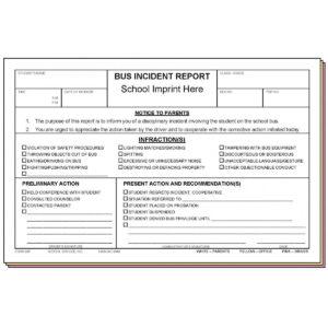 98F – Bus Incident Report W/school Imprint for School Incident Report Template