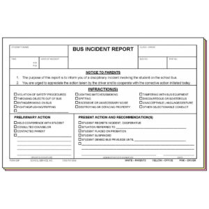 98F – Bus Incident Report with School Incident Report Template