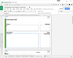 A Backlog Item Card Creator In Google Sheets | Co-Learning.be in Agile Story Card Template