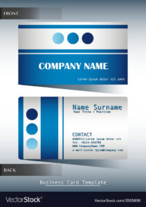 A Blue And Grey Calling Card inside Template For Calling Card